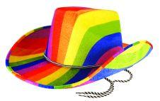 Hat Cowboy Rainbow Felt Adult