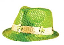 Hat Gangster Sequin Irish W/shamrock