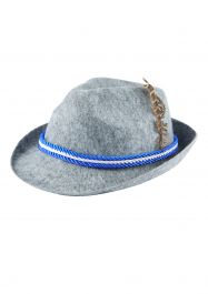 Hat Oktoberfest W/feather & Blue/white Cord A