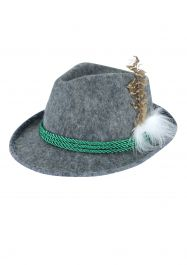 Hat Oktoberfest W/feather & Green Cord Adult