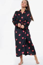 Heart Print Satin Robe Dressing Gown Black