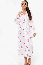 Heart Print Satin Robe Dressing Gown White