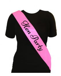 Hen Party Sash Pink W/black Text