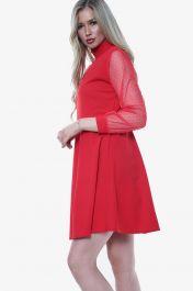 High Neck Mesh Insert Skater Dress (Red)