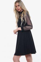 High Neck Mesh Insert Skater Dress (Black)