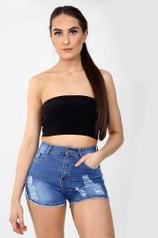 High waisted ladies blue shorts