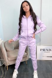 Hooded Vegan Leather Zip Up Co-Ord Set (Purple)