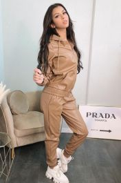 Hooded Vegan Leather Zip Up Co-Ord Set (Tan)
