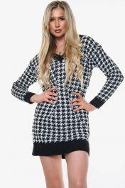 Houndstooth Knitted V-Neck Jumper Dress (Black)