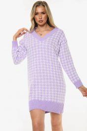 Houndstooth Knitted V-Neck Jumper Dress (Lilac)