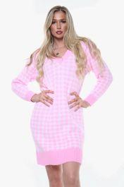 Houndstooth Knitted V-Neck Jumper Dress (Pink)