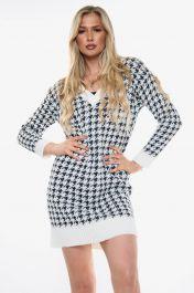 Houndstooth Knitted V-Neck Jumper Dress (White)
