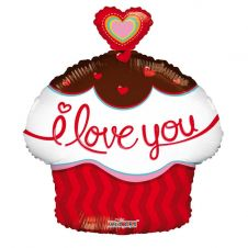 I Love You Cupcake with Heart Balloon (18 Inches)