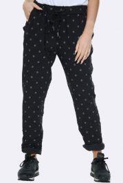 Italian Daisy Print Pants Black