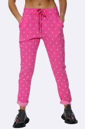 Italian Daisy Print Pants Fuchsia Pink