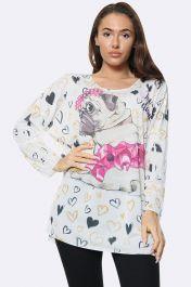 Italian Fashion Love Pug Print Tunic Top