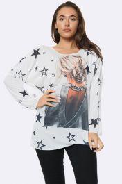 Italian Fashion Star Girl Print Tunic Top