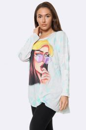 Italian Fashionista Print Tunic Top