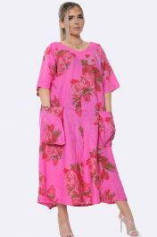 Italian Floral Fuchsia Long Dress