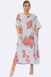 Italian Floral Grey Long Dress