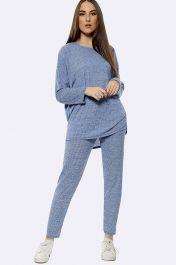 Italian Knitted Plain Long Sleeve Tracksuits Denim Blue