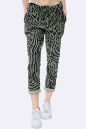 Italian Leopard Zebra Print Full Length Trouser