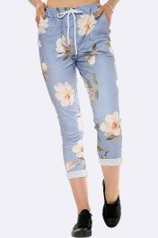 Italian Lilly Print Drawstring Waist Trousers