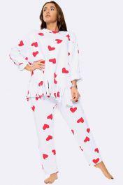 Italian Love Heart Fringe Hem Loungewear White