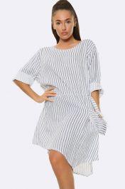 Italian Pinstripe Button Pocket White Dress