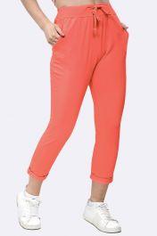 Italian Plain Pocket Trousers Coral