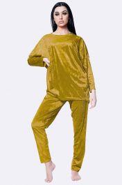 Italian Plain Velvet Loungewear 2 Pcs Mustard Yellow