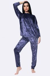 Italian Plain Velvet Loungewear 2 Pcs Navy Blue