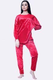 Italian Plain Velvet Loungewear 2 Pcs Red