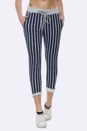 Italian Stripe Print Foldover Hem Drawstring Trouser
