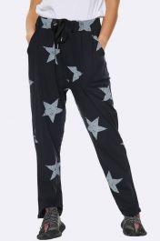 Italian Taper Leg Star Print Joggers Black