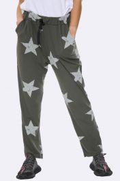 Italian Taper Leg Star Print Joggers Khaki