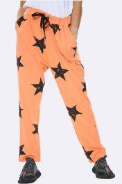 Italian Taper Leg Star Print Joggers Orange