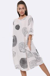Italian Tree Log Print Grey Dress