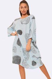 Italian Tree Log Print Sky Blue Dress