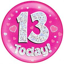 Jumbo Badge 13 Today Pink Holographic Dot (6 inches)
