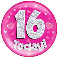 Jumbo Badge 16 Today Pink Holographic Dot (6 inches)