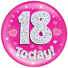 Jumbo Badge 18 Today Pink Holographic Dot (6 inches)