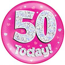 Jumbo Badge 50 Today Pink Holographic Dot (6 inches)