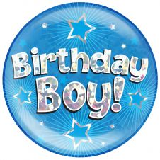 Jumbo Badge Birthday Boy Blue Holographic Cracked Ice (6 inches)