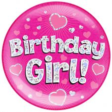 Jumbo Badge Birthday Girl Pink Holographic Dot (6 inches)