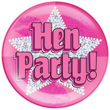 Jumbo Badge Hen Party Holographic Dot (6 inches)