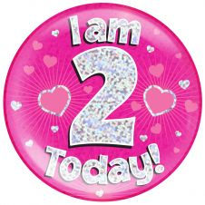 Jumbo Badge i am 2 Today Pink Holographic Dot (6 inches)