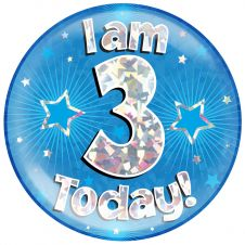 Jumbo Badge I am 3 Today Blue Holographic Cracked Ice (6 inches)