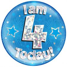 Jumbo Badge I am 4 Today Blue Holographic Cracked Ice (6 inches)