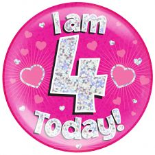 Jumbo Badge i am 4 Today Pink Holographic Dot (6 inches)